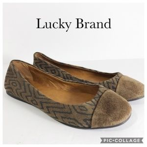 Lucky Brand Brielly cap toe flat brown suede 6